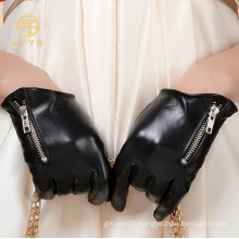 hot sale fashion ladies zipper leather gloves