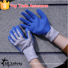 SRSAFETY 2016 cut resistant glove/crinkle latex coated hppe liner/good quality