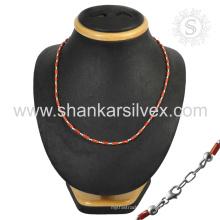 Эффектный красный коралл драгоценный камень серебряное ожерелье, оптовая 925 ювелирные изделия стерлингового серебра индийский ювелирные изделия