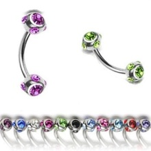 Luminous Multi-Gem Ball Curved Barbell Bar