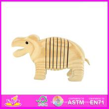 2014 nouveaux enfants 3D bricolage visage peinture Hippo jouet, Hippo Style enfant en bois peinture jouet, bébé éducatif peinture en bois Hippo jouet W03A037