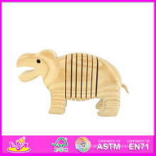 2014 New Kids 3D DIY Face Paint Hippo Toy, Hippo Style Child Wooden Paint Toy, Educational Baby Wooden Paint Hippo Toy W03A037