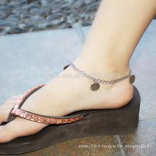 Vente en gros Acier inoxydable Blank Round Tag Ankle Bracelet Silver Foot Jewelry