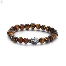 Pulsera de Buda de piedra de ojo de tigre de acero inoxidable