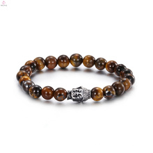 Aço inoxidável Tiger Eye Stone Pulseira de Buda Jóias