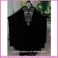 HE3003 Hot selling muslim women long dress styles of dresses black high neckline muslim dress colored beaded pattern muslim tube