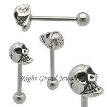 Hotsale Stainless Steel Men Skull Tongue Ring