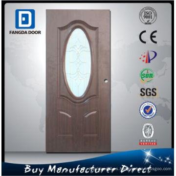 Fangda puerta de madera con arca diseño pequeño óvalo de vidrio, puerta de madera para la oficina