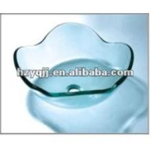 Évier de salle de bain en verre fleur de lotus clair tempéré