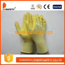 Yellow Nylon Shell Foam Latex Coating Safety Glove Dnl220