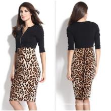 Western Style Women Splicing Leopard Sexy Tight Pencil Dress