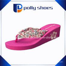 Женщин Платформа Высокая Клин Пятки Флип-Флоп Печатных Пляж Slipers