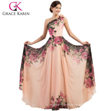 2015 Grace Karin elegante floral imprimió una gasa de hombro largo más vestidos de noche de talla para las mujeres gordas CL7504