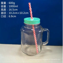 1000ml Square Glass Mason Jars with Handle