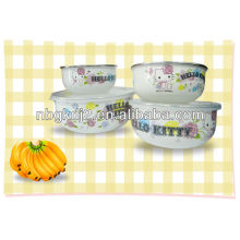 5pcs enamel storage bowl sets with PP cover