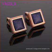 Boutons de manchette de mariage de pierre bleue carrée d'or rose L52302