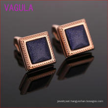 Rose Gold Plating Square Blue Stone Wedding Cufflinks L52302