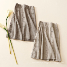 Moda saia de tricô Uma linha saia de caxemira pura outono inverno novo saias de design elegante para meninas