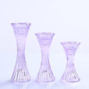 Set dari 3 Kaca Kristal Pilar dan Lilin Taper holder