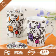Set of 1 (10 OZ) porcelain mug with lid and spoon in color box, item No: GY-TH-005