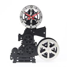 Proyector de cine negro, reloj de engranajes para el hogar.