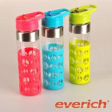 2015 novos produtos garrafa de água de vidro reutilizável
