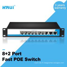 Commutateur POE VLAN 8 ports fixe avec 2 ports Ethernet Uplink et commutateur POE 10 / 100M