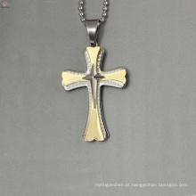 Moda pingente de jesus de aço inoxidável, três pingente de cruz, pingente de ouro projeta mulheres