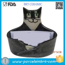 Porta-cartões de identificação de cerâmica para gato bonito bonito