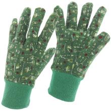 Fine Printed-Flower Jersey Baumwolle Arbeit Arbeitsschutz Garten Handschuhe (41011)