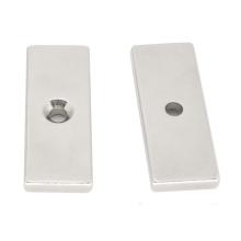 Ndfeb Cuboid Magnet Block Countersunk Hole Shaped