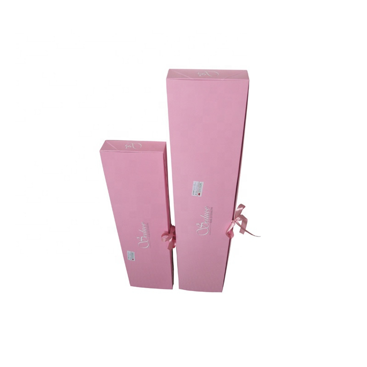 Luxury Pink Hair Packaging Box With Ribbon