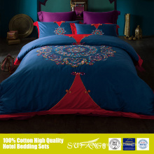 Classic Chinese knot red and blue patchwork Takako wedding bed sheet sets