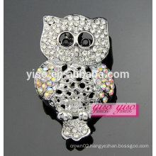 with AB crystal stone owl alloy brooch for sale