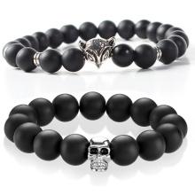 Popular Indian Bracelet Men Beads Matte Black Agate Stone Steel Skull Charm Bracelet