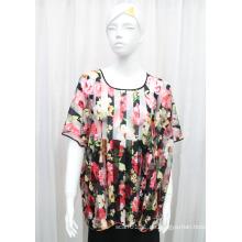 Lady Fashion Blume gedruckt Polyester Gestrickte Frühling hohlen Hemd (YKY2208)