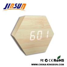 Hexagonal Wooden Alarm LED Clock