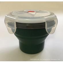 Lebensmittelqualität silikon wasser tasse mit zusammenklappbaren container