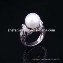 2018 nouveaux paramètres d'anneau de perle en argent sterling de mode