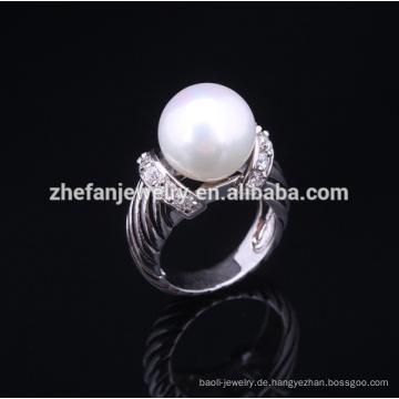 2018 neue Mode Sterling Silber Perle Ring Einstellungen
