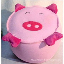 lovely and practical plush pig Inflatable stool