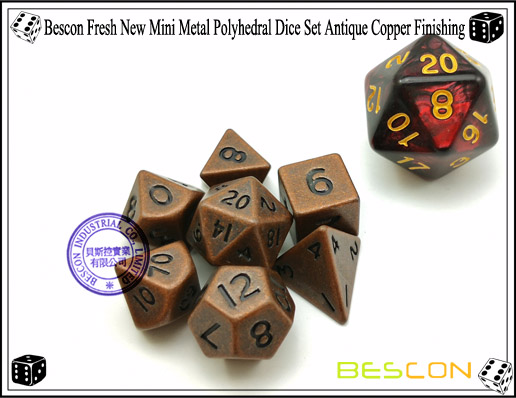Bescon Fresh New Mini Metal Polyhedral Dice Set Antique Copper Finishing-3