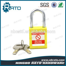 Vivid Steel Shackle Yellow Plastic Safety Padlock with Key