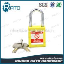 Vivid Steel Shackle Cadeado de segurança de plástico amarelo com chave