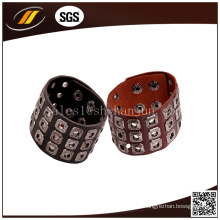 Pulseira Punk Genuine Leather with Rivet