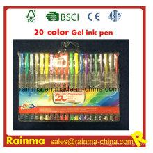 Stylo d'encre de gel de 20 couleurs dans l'emballage de sac de PVC