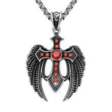 Zircon Cross Men Necklace Pendant Fashion Accessories Titanium Steel
