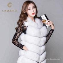 Chaleco de piel de zorro real de alta calidad del traje de lujo mujer al por mayor