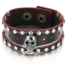 2015 new men's skull bracelet jewelry influx of people must leather bracelet PH776