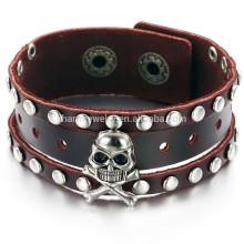 2015 homens novos crânio pulseira jóias afluência de pessoas devem pulseira de couro PH776